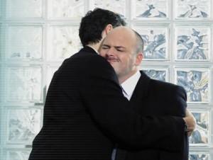 Awkward colleague hug capture