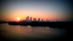 Canary Wharf sunset over city CBD