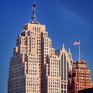 Financial district skyline flagpole